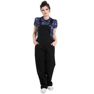 Hell Bunny Dungarees - Elly May Black
